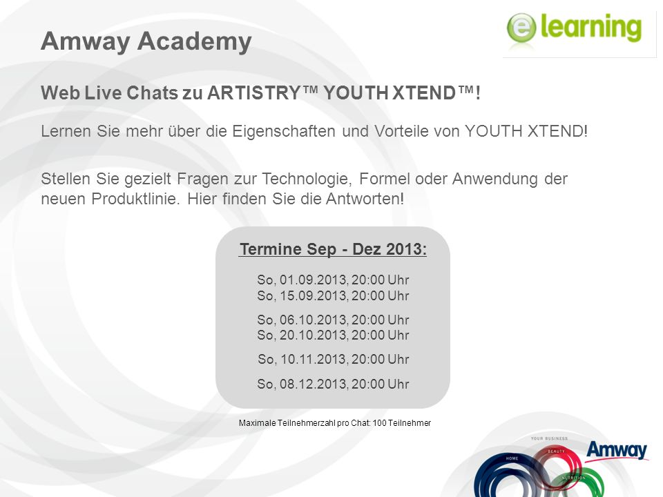Amway Academy Web Live Chats zu ARTISTRY™ YOUTH XTEND™.