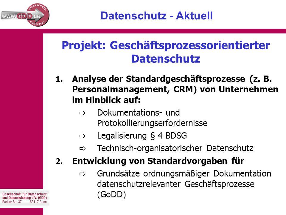 Datenschutz - Aktuell 1. Analyse der Standardgeschäftsprozesse (z.
