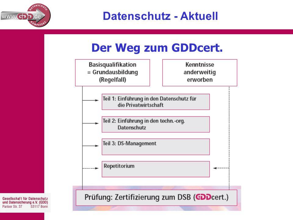 Datenschutz - Aktuell Der Weg zum GDDcert.