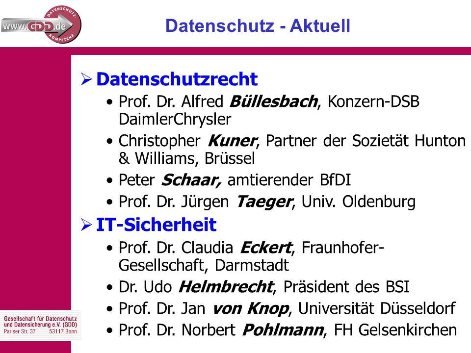 Datenschutz - Aktuell  Datenschutzrecht Prof. Dr.