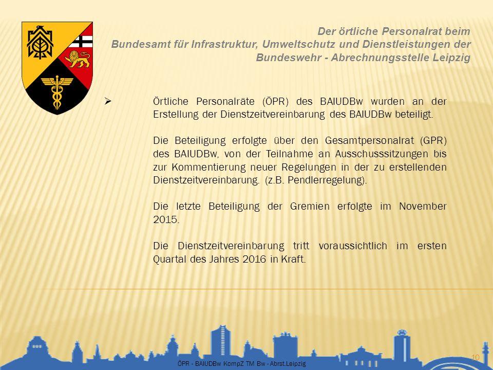ÖPR - BAIUDBw KompZ TM Bw - Abrst.Leipzig 10 Der örtliche Personalrat beim Bundesamt für Infrastruktur, Umweltschutz und Dienstleistungen der Bundeswe