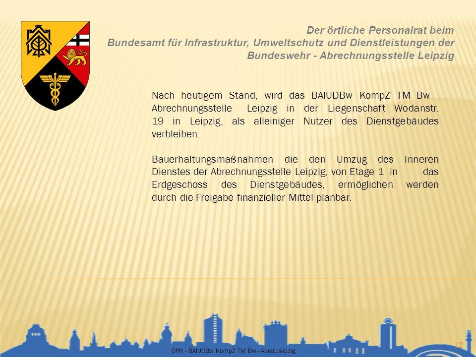 ÖPR - BAIUDBw KompZ TM Bw - Abrst.Leipzig 12 Der örtliche Personalrat beim Bundesamt für Infrastruktur, Umweltschutz und Dienstleistungen der Bundeswe