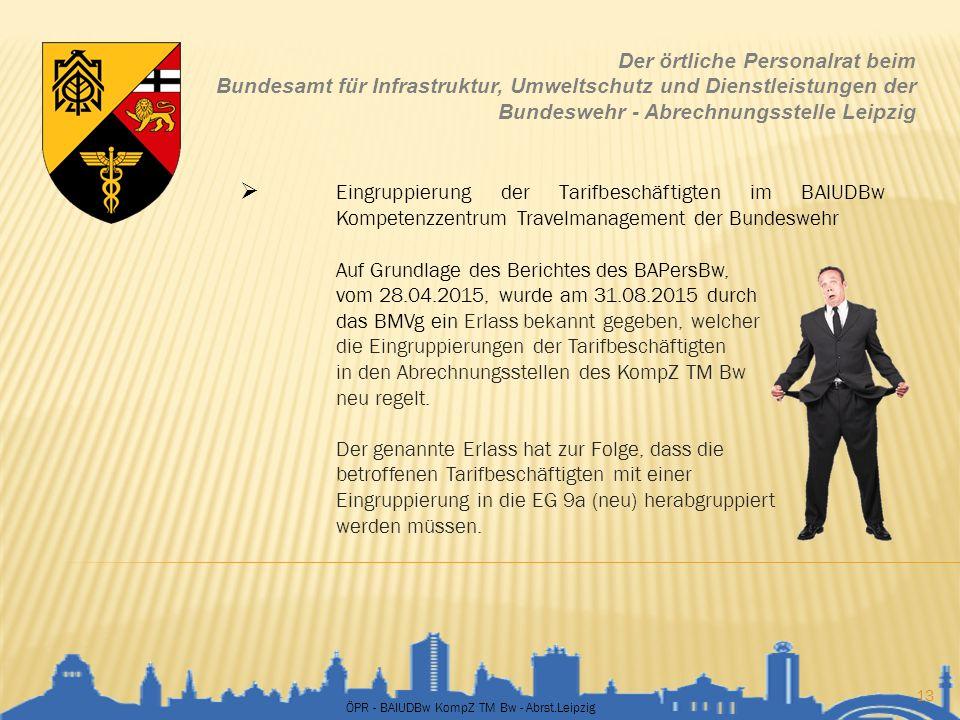 ÖPR - BAIUDBw KompZ TM Bw - Abrst.Leipzig 13 Der örtliche Personalrat beim Bundesamt für Infrastruktur, Umweltschutz und Dienstleistungen der Bundeswe