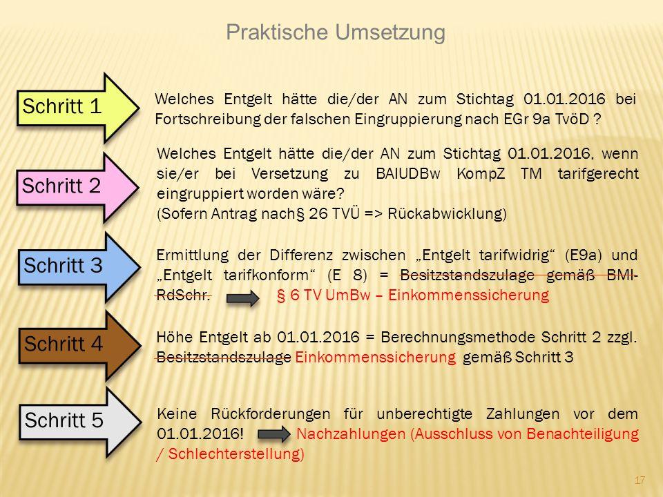 17 Praktische Umsetzung Schritt 2 Welches Entgelt hätte die/der AN zum Stichtag 01.01.2016, wenn sie/er bei Versetzung zu BAIUDBw KompZ TM tarifgerech