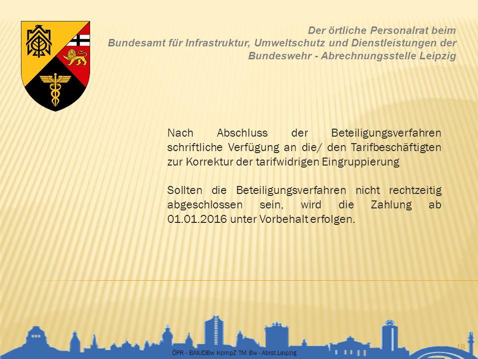ÖPR - BAIUDBw KompZ TM Bw - Abrst.Leipzig 18 Der örtliche Personalrat beim Bundesamt für Infrastruktur, Umweltschutz und Dienstleistungen der Bundeswe
