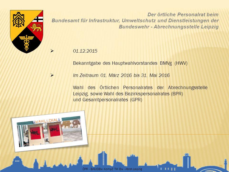 ÖPR - BAIUDBw KompZ TM Bw - Abrst.Leipzig 21 Der örtliche Personalrat beim Bundesamt für Infrastruktur, Umweltschutz und Dienstleistungen der Bundeswe