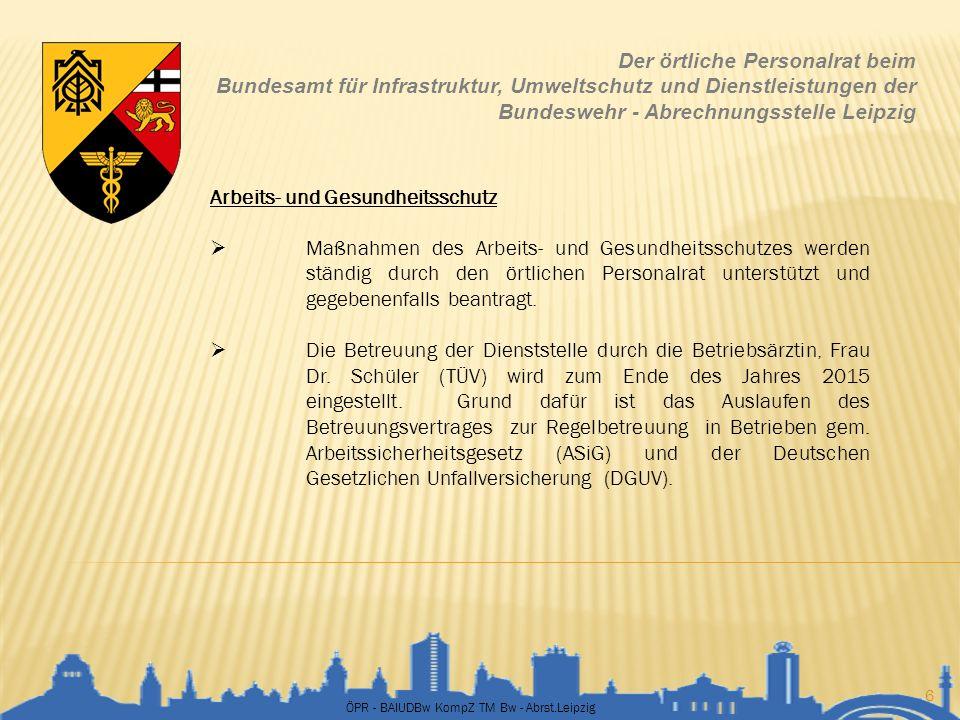 ÖPR - BAIUDBw KompZ TM Bw - Abrst.Leipzig 6 Der örtliche Personalrat beim Bundesamt für Infrastruktur, Umweltschutz und Dienstleistungen der Bundesweh