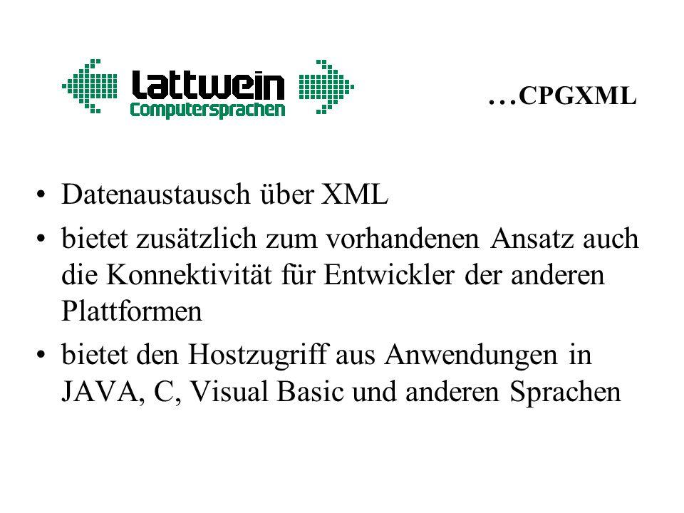 ... CPGXML Datenaustausch über XML bietet zusätzlich zum vorhandenen Ansatz auch die Konnektivität für Entwickler der anderen Plattformen bietet den H