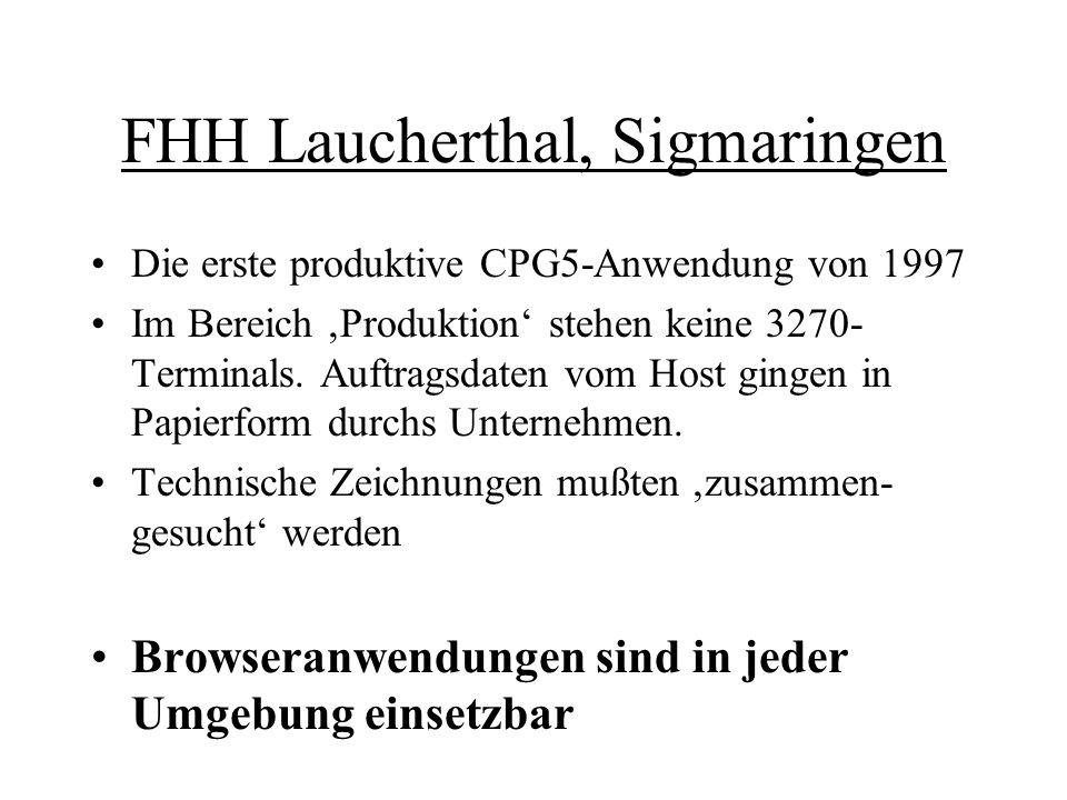 FHH Laucherthal, Sigmaringen Die erste produktive CPG5-Anwendung von 1997 Im Bereich 'Produktion' stehen keine 3270- Terminals. Auftragsdaten vom Host