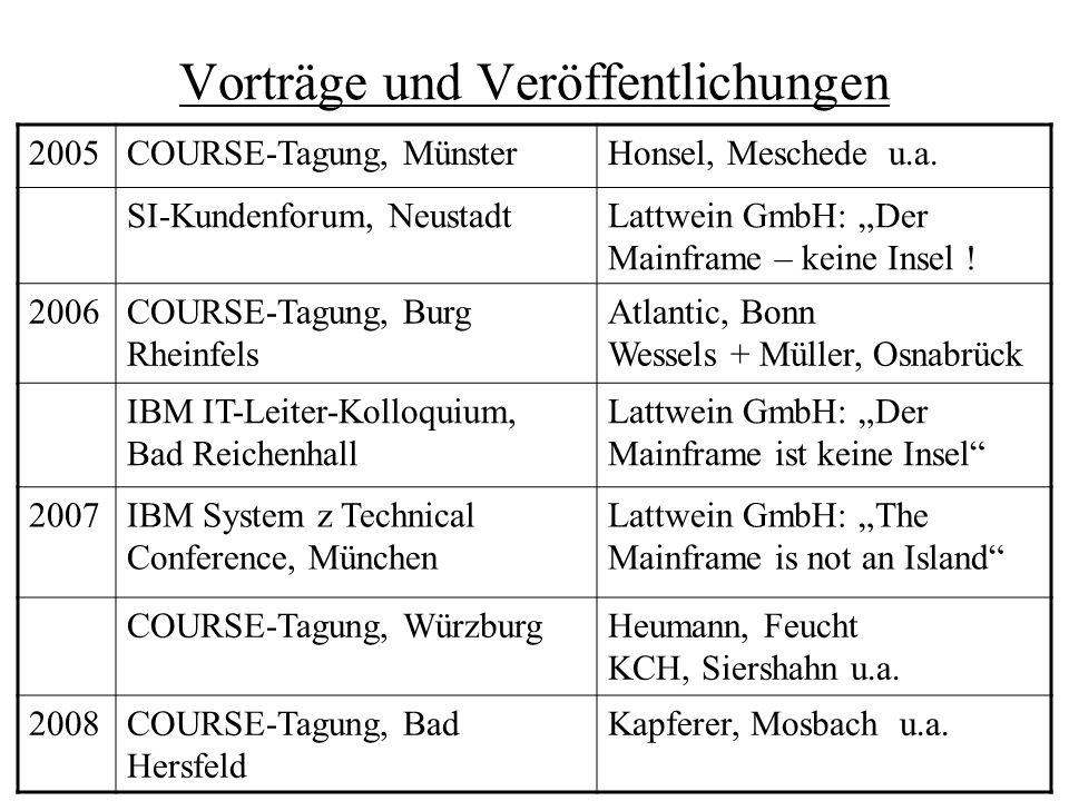 """Vorträge und Veröffentlichungen 2005COURSE-Tagung, MünsterHonsel, Meschede u.a. SI-Kundenforum, NeustadtLattwein GmbH: """"Der Mainframe – keine Insel !"""