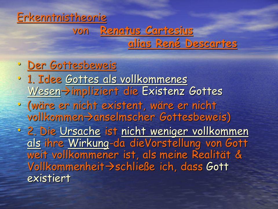 Erkenntnistheorie vonRenatus Cartesius aliasRené Descartes Der Gottesbeweis Der Gottesbeweis 1.