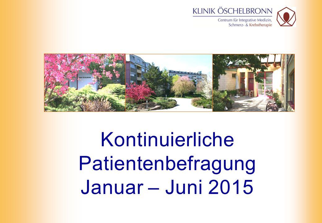 2 Kontinuierliche Patientenbefragung Januar – Juni 2015 Ausgegebene Fragebögen: 1.348 Rücklauf Fragebögen: 382 Rücklaufquote: 28,3%