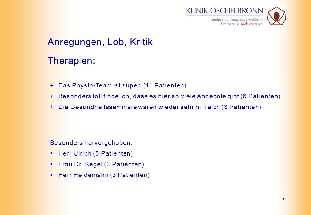+ Bei der Aufnahme sehr freundlich empfangen +Schnelle und freundliche Patientenaufnahme (4 Patienten) Aufnahme: Anregungen, Lob, Kritik 18
