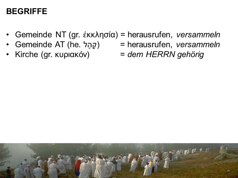 BEGRIFFE Gemeinde NT (gr. ἐ κκλησία) = herausrufen, versammeln Gemeinde AT (he.
