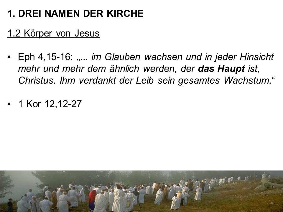 """1. DREI NAMEN DER KIRCHE 1.2 Körper von Jesus Eph 4,15-16: """"..."""
