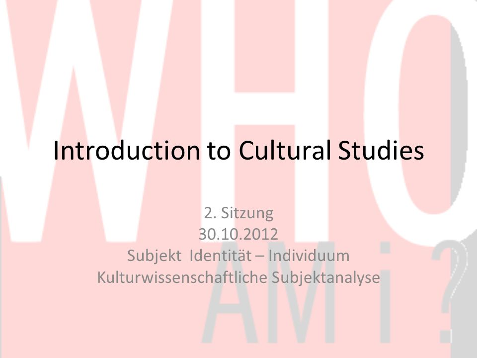 Introduction to Cultural Studies 2.