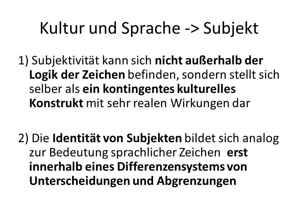 Kultur und Sprache -> Subjekt 1) Subjektivität kann sich nicht außerhalb der Logik der Zeichen befinden, sondern stellt sich selber als ein kontingentes kulturelles Konstrukt mit sehr realen Wirkungen dar 2) Die Identität von Subjekten bildet sich analog zur Bedeutung sprachlicher Zeichen erst innerhalb eines Differenzensystems von Unterscheidungen und Abgrenzungen
