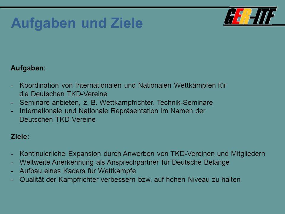 Aufgaben und Ziele Aufgaben: -Koordination von Internationalen und Nationalen Wettkämpfen für die Deutschen TKD-Vereine -Seminare anbieten, z.