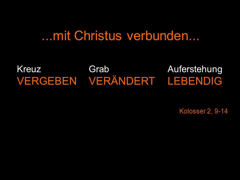 Auferstehung LEBENDIG Kreuz VERGEBEN Grab VERÄNDERT Kolosser 2, 9-14...mit Christus verbunden...