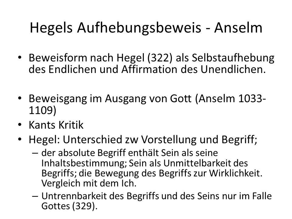 Hegels Aufhebungsbeweis - Anselm Beweisform nach Hegel (322) als Selbstaufhebung des Endlichen und Affirmation des Unendlichen.