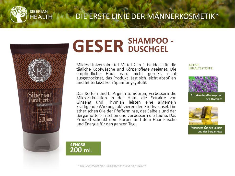 In unsere neue verbesserte Rezepturen der Linie der Männerkosmetik * Geser haben wir noch mehr der aktiven Pflanzenkomponenten eingearbeitet, wir haben das Beste, was die Natur gibt, für Haarpflege, Gesichtspflege und Körperpflege dazugefügt.