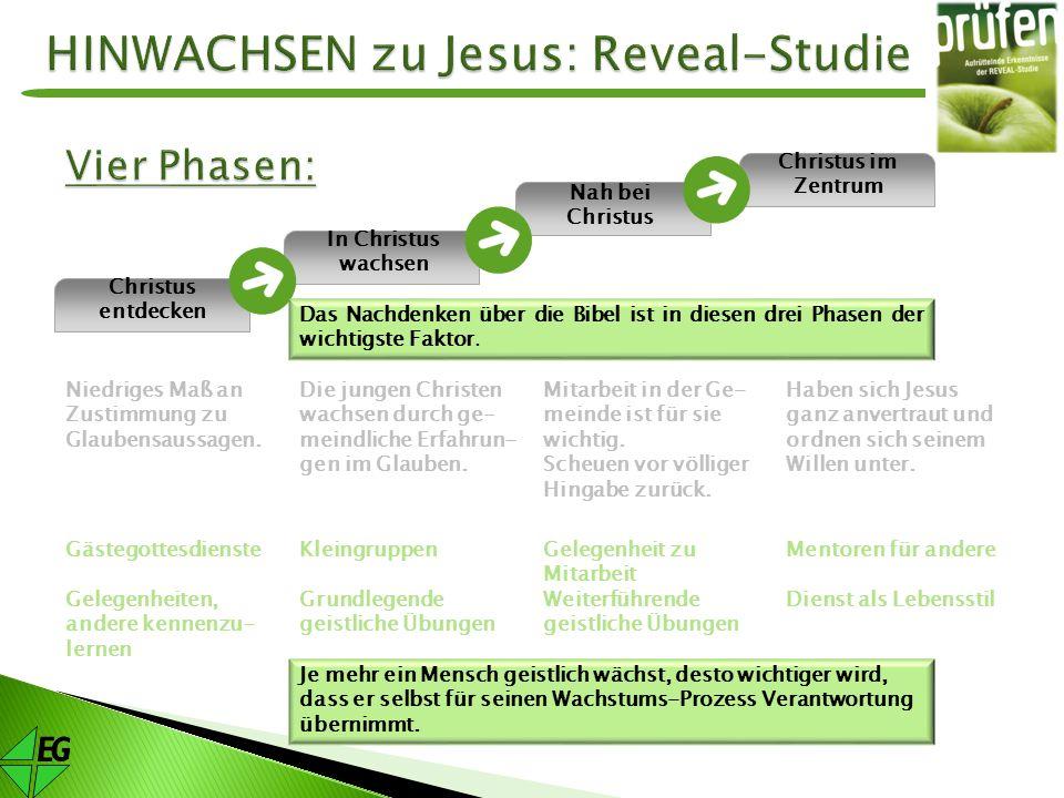 In Christus wachsen Nah bei Christus Christus im Zentrum Christus entdecken Niedriges Maß an Zustimmung zu Glaubensaussagen. Gästegottesdienste Gelege