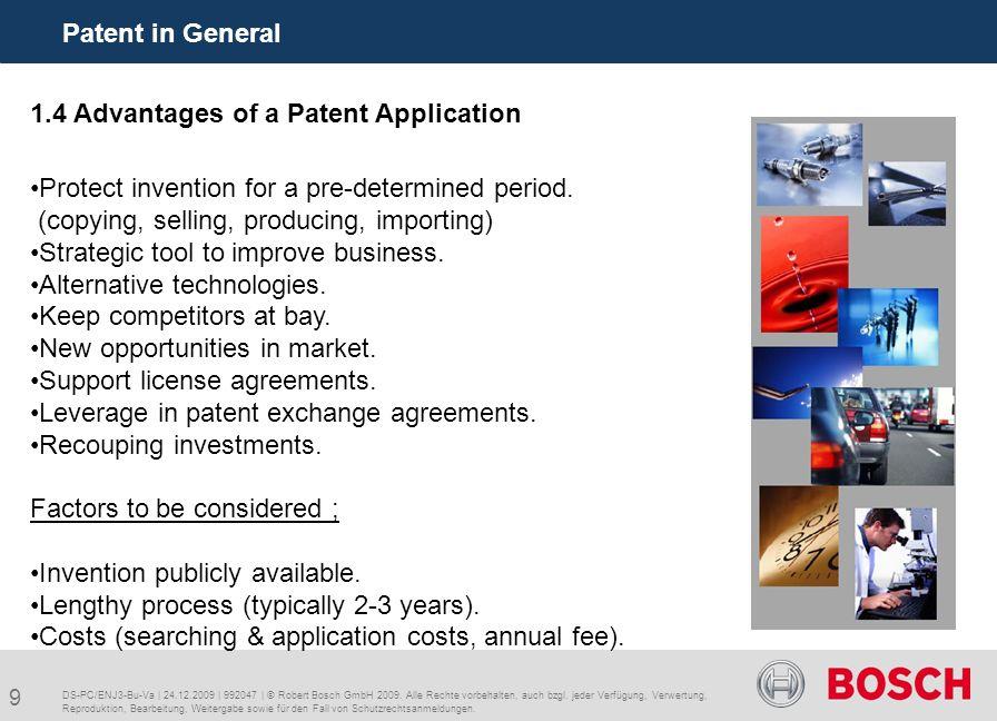 20 Patent in Bosch Bursa DS-PC/ENJ3-Bu-Va | 24.12.2009 | 992047 | © Robert Bosch GmbH 2009.