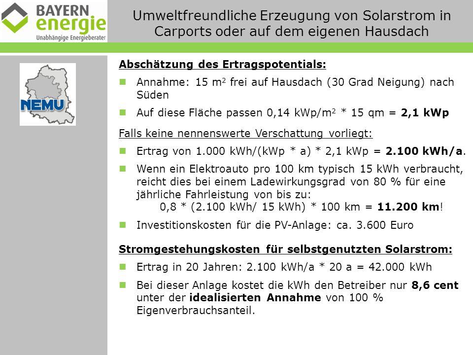 Umweltfreundliche Erzeugung von Solarstrom in Carports oder auf dem eigenen Hausdach Abschätzung des Ertragspotentials: Annahme: 15 m 2 frei auf Hausdach (30 Grad Neigung) nach Süden Auf diese Fläche passen 0,14 kWp/m 2 * 15 qm = 2,1 kWp Falls keine nennenswerte Verschattung vorliegt: Ertrag von 1.000 kWh/(kWp * a) * 2,1 kWp = 2.100 kWh/a.