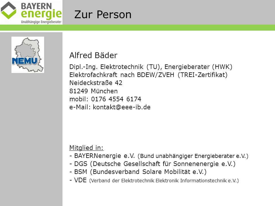 Zur Person Alfred Bäder Dipl.-Ing.