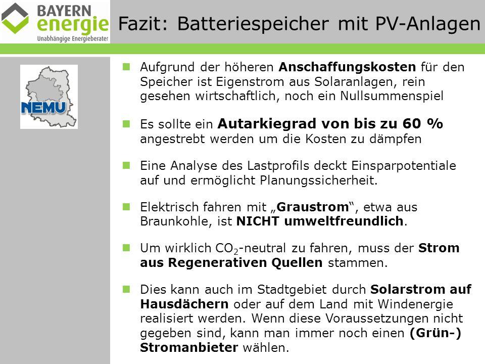 Fazit: Batteriespeicher mit PV-Anlagen Aufgrund der höheren Anschaffungskosten für den Speicher ist Eigenstrom aus Solaranlagen, rein gesehen wirtschaftlich, noch ein Nullsummenspiel Es sollte ein Autarkiegrad von bis zu 60 % angestrebt werden um die Kosten zu dämpfen Eine Analyse des Lastprofils deckt Einsparpotentiale auf und ermöglicht Planungssicherheit.
