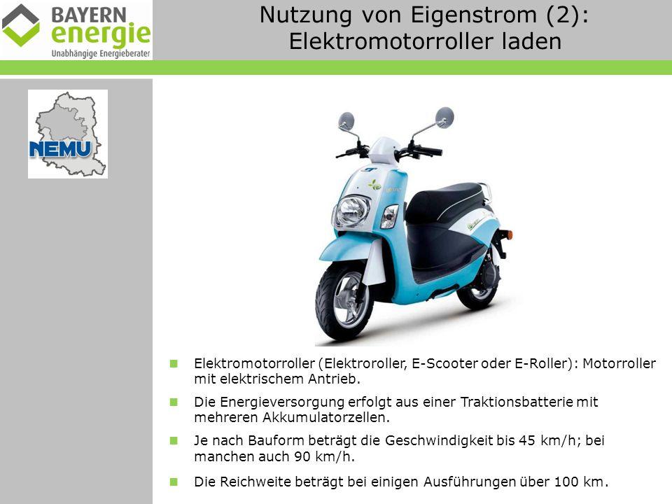 Nutzung von Eigenstrom (2): Elektromotorroller laden Elektromotorroller (Elektroroller, E-Scooter oder E-Roller): Motorroller mit elektrischem Antrieb.