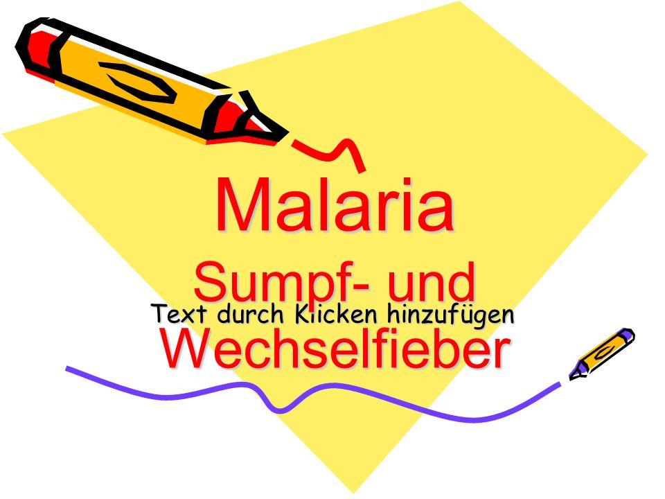 Text durch Klicken hinzufügen Malaria Sumpf- und Wechselfieber