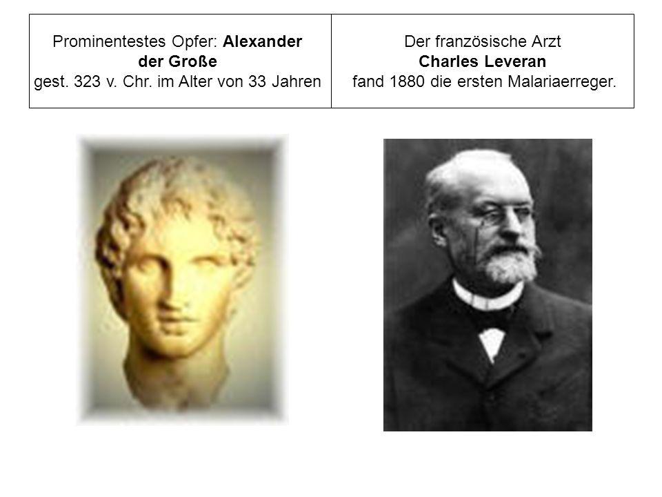 Prominentestes Opfer: Alexander der Große gest. 323 v. Chr. im Alter von 33 Jahren Der französische Arzt Charles Leveran fand 1880 die ersten Malariae