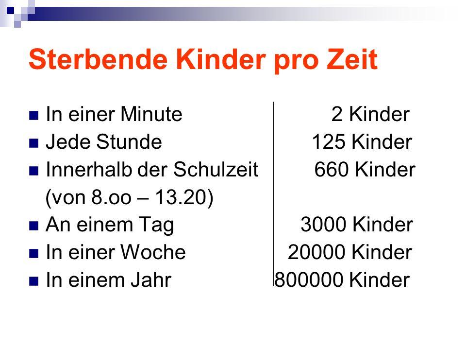 In einer Minute 2 Kinder Jede Stunde 125 Kinder Innerhalb der Schulzeit 660 Kinder (von 8.oo – 13.20) An einem Tag 3000 Kinder In einer Woche 20000 Kinder In einem Jahr 800000 Kinder Sterbende Kinder pro Zeit
