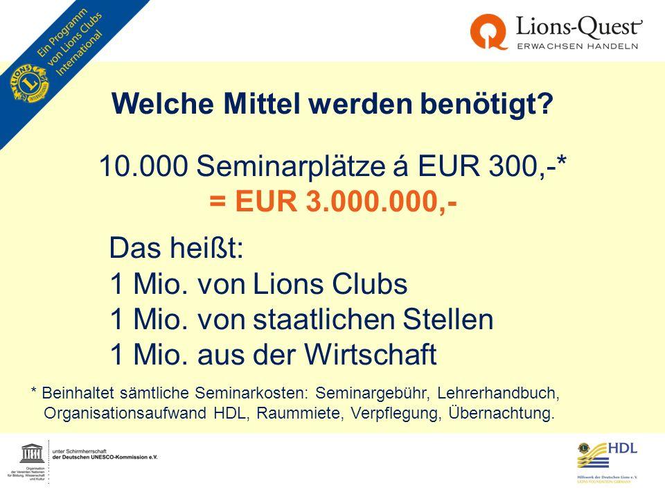 Welche Mittel werden benötigt? 10.000 Seminarplätze á EUR 300,-* = EUR 3.000.000,- Das heißt: 1 Mio. von Lions Clubs 1 Mio. von staatlichen Stellen 1