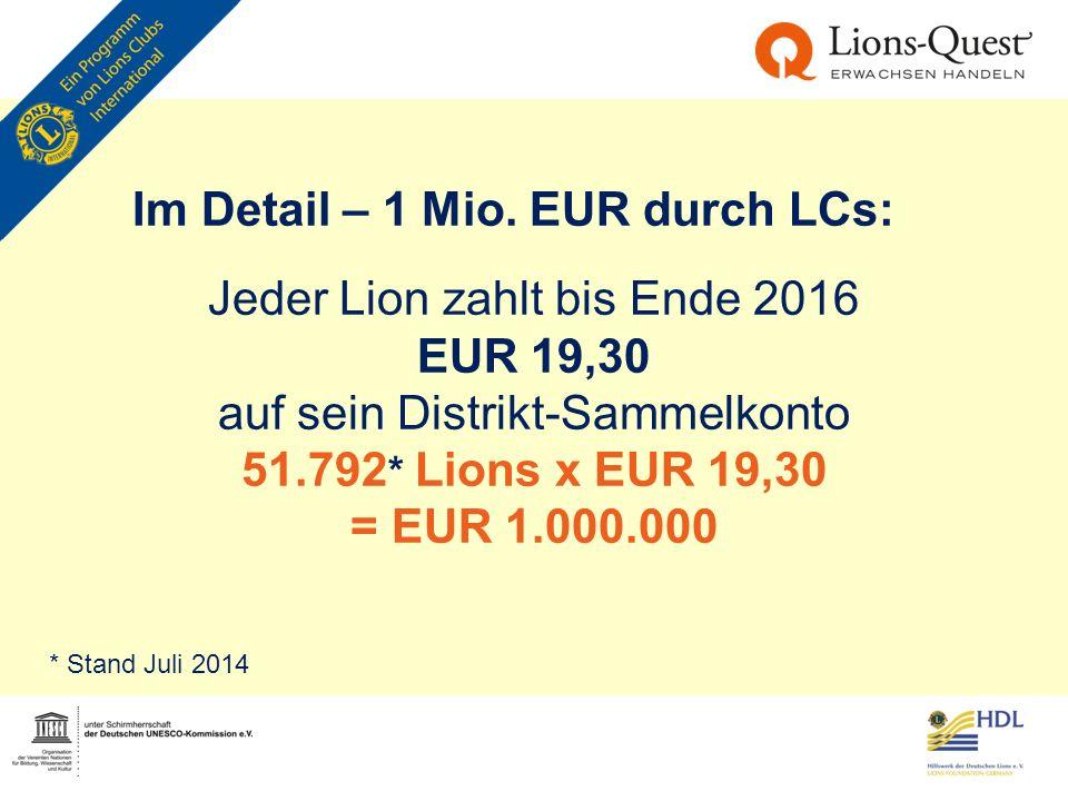 Im Detail – 1 Mio. EUR durch LCs: Jeder Lion zahlt bis Ende 2016 EUR 19,30 auf sein Distrikt-Sammelkonto 51.792 * Lions x EUR 19,30 = EUR 1.000.000 *