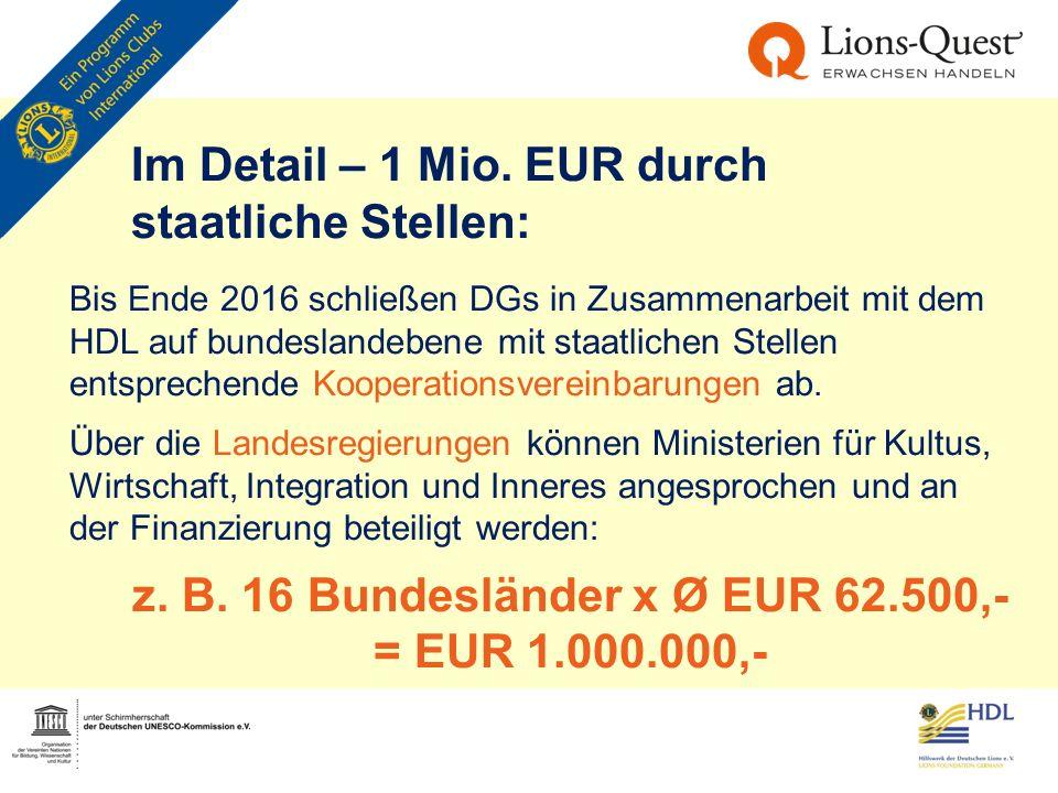 Im Detail – 1 Mio. EUR durch staatliche Stellen: Bis Ende 2016 schließen DGs in Zusammenarbeit mit dem HDL auf bundeslandebene mit staatlichen Stellen