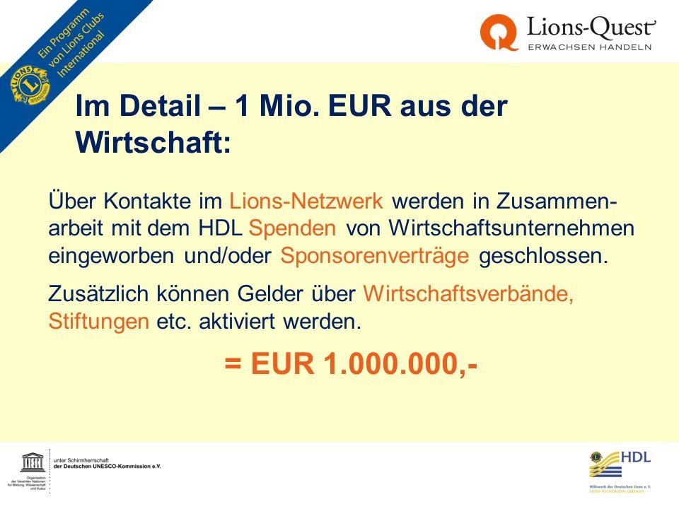 Im Detail – 1 Mio. EUR aus der Wirtschaft: Über Kontakte im Lions-Netzwerk werden in Zusammen- arbeit mit dem HDL Spenden von Wirtschaftsunternehmen e