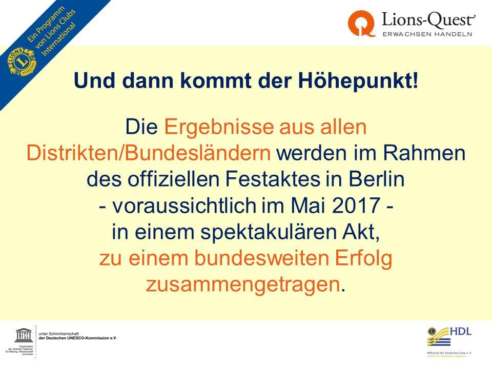Und dann kommt der Höhepunkt! Die Ergebnisse aus allen Distrikten/Bundesländern werden im Rahmen des offiziellen Festaktes in Berlin - voraussichtlich