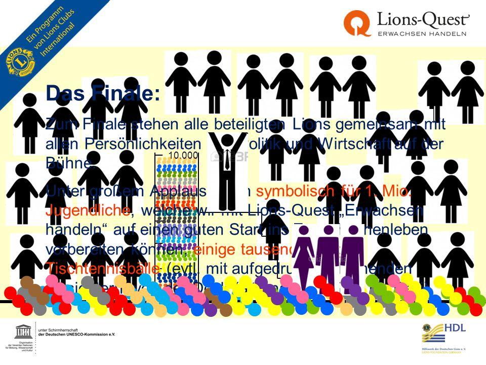 10.000 Das Finale: Zum Finale stehen alle beteiligten Lions gemeinsam mit allen Persönlichkeiten aus Politik und Wirtschaft auf der Bühne. Unter große