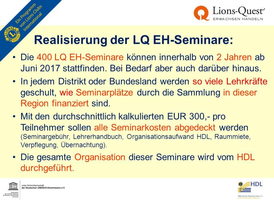 Realisierung der LQ EH-Seminare: Die 400 LQ EH-Seminare können innerhalb von 2 Jahren ab Juni 2017 stattfinden. Bei Bedarf aber auch darüber hinaus. I