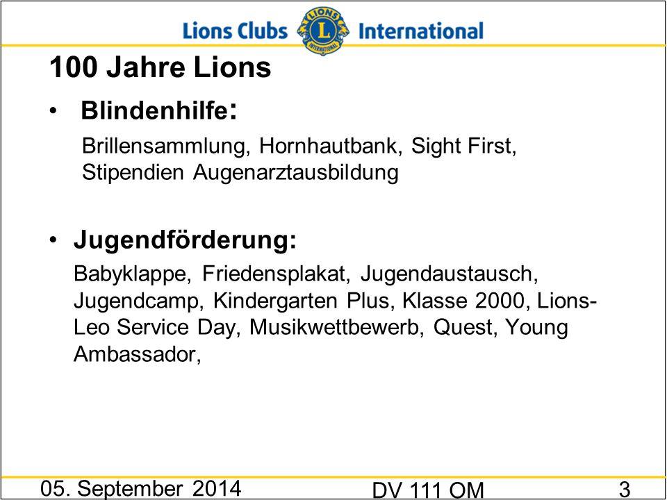 100 Jahre Lions Blindenhilfe : Brillensammlung, Hornhautbank, Sight First, Stipendien Augenarztausbildung Jugendförderung: Babyklappe, Friedensplakat,