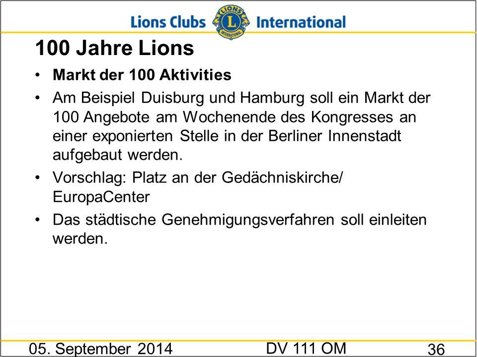 100 Jahre Lions Markt der 100 Aktivities Am Beispiel Duisburg und Hamburg soll ein Markt der 100 Angebote am Wochenende des Kongresses an einer exponi