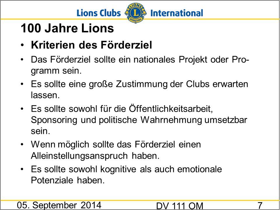 100 Jahre Lions Empfehlung nach Diskussion Die Felder Jugend- und Blindenförderung in Deutsch- land haben den größten Förder- und Programmum- fang im MD.