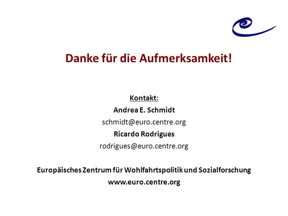 Danke für die Aufmerksamkeit! Kontakt: Andrea E. Schmidt schmidt@euro.centre.org Ricardo Rodrigues rodrigues@euro.centre.org Europäisches Zentrum für