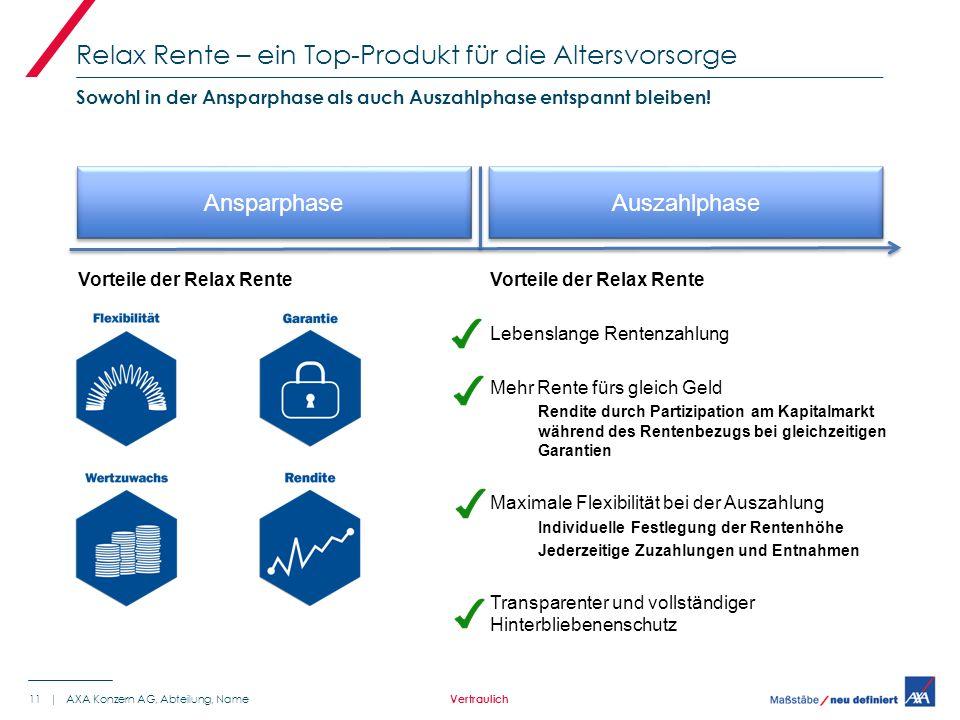 Vorteile der Relax Rente Relax Rente – ein Top-Produkt für die Altersvorsorge 11 | AXA Konzern AG, Abteilung, Name Sowohl in der Ansparphase als auch Auszahlphase entspannt bleiben.