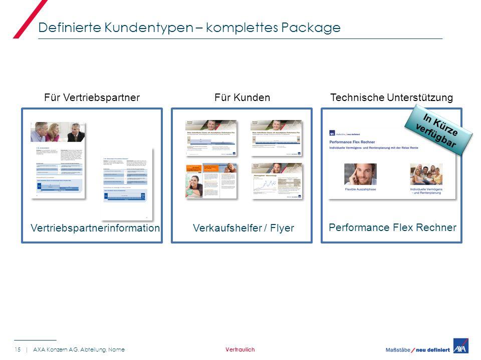 Definierte Kundentypen – komplettes Package 15 | AXA Konzern AG, Abteilung, Name Vertraulich Für Kunden Verkaufshelfer / Flyer Für Vertriebspartner Vertriebspartnerinformation Technische Unterstützung Performance Flex Rechner In Kürze verfügbar