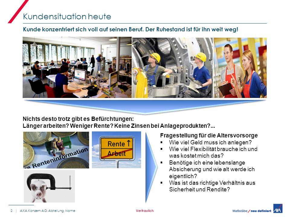 Kundensituation heute 2 | AXA Konzern AG, Abteilung, Name Kunde konzentriert sich voll auf seinen Beruf.