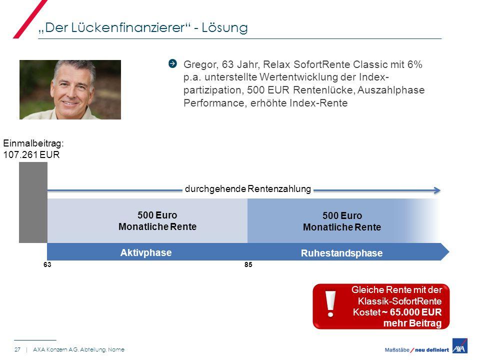 Gregor, 63 Jahr, Relax SofortRente Classic mit 6% p.a. unterstellte Wertentwicklung der Index- partizipation, 500 EUR Rentenlücke, Auszahlphase Perfor