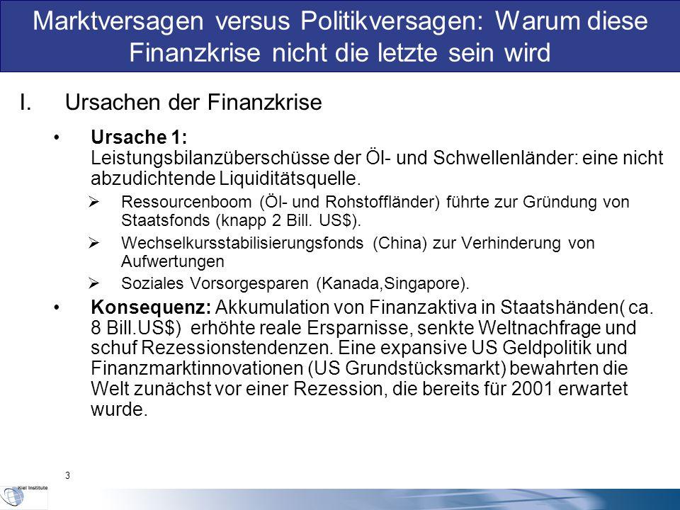 I.Ursachen der Finanzkrise Ursache 1: Leistungsbilanzüberschüsse der Öl- und Schwellenländer: eine nicht abzudichtende Liquiditätsquelle.